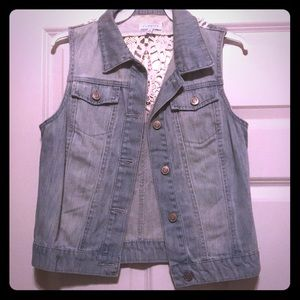 Denim vest with crochet back